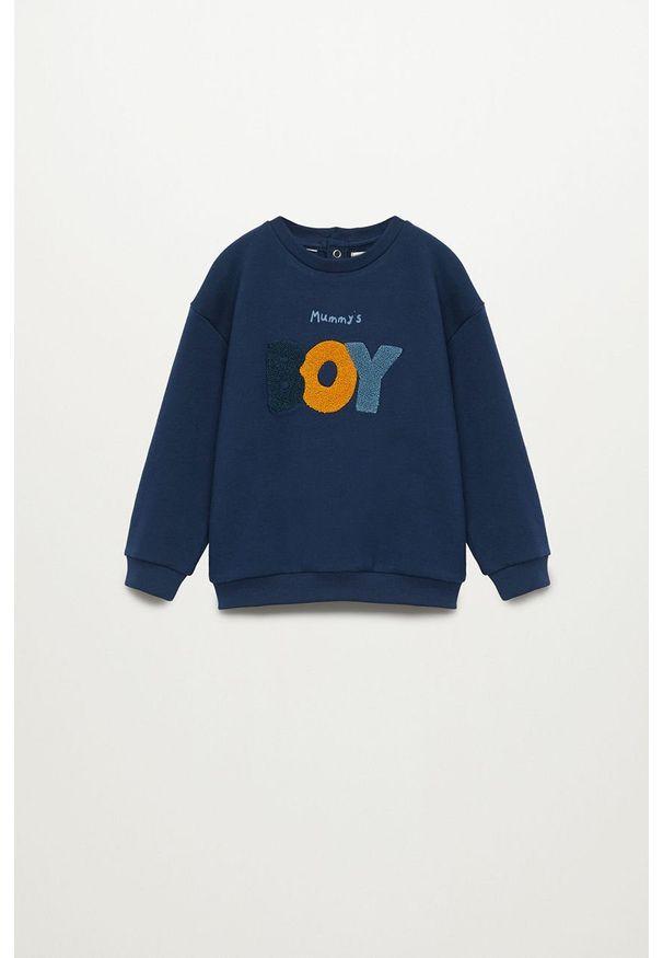 Niebieska bluza Mango Kids casualowa, na co dzień, z aplikacjami, bez kaptura