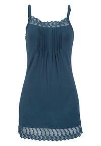 Niebieski top bonprix na ramiączkach, w koronkowe wzory
