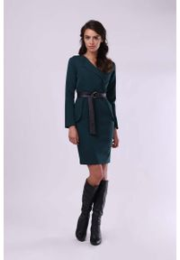 Nommo - Sukienka z Kopertowym Dekoltem - Zielona. Kolor: zielony. Materiał: wiskoza, poliester. Typ sukienki: kopertowe
