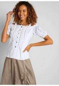 Bluzka w ludowym stylu z falbanami bonprix biały. Kolor: biały