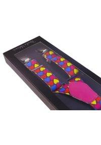 Modini - Szelki unisex w kolorowe serca X17. Materiał: skóra, guma. Wzór: kolorowy