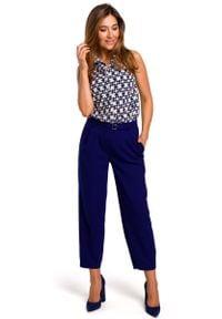 Niebieskie spodnie z wysokim stanem MOE