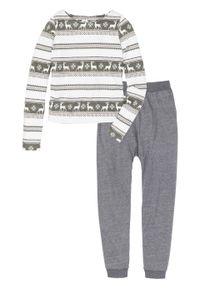 Piżama ze spodniami alladynkami bonprix szary melanż - biel wełny z nadrukiem