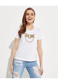 Pinko - PINKO - Biały t-shirt z logo Quentin. Kolor: biały. Materiał: bawełna, jeans. Wzór: aplikacja