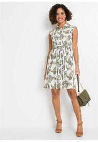 Sukienka koszulowa z lnu z nadrukiem bonprix biel wełny - ciemnozielony - oliwkowy zielony wzorzysty. Kolor: biały. Materiał: len, wełna. Wzór: nadruk. Typ sukienki: koszulowe