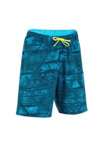 NABAIJI - Szorty Długie Pływackie 100 Tex Dla Dzieci. Kolor: niebieski, czarny, wielokolorowy, turkusowy. Materiał: poliester, elastan, poliamid, materiał. Długość: długie
