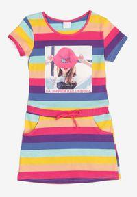 Born2be - Fioletowa Sukienka Thalusei. Kolor: fioletowy. Materiał: bawełna, dzianina. Długość rękawa: krótki rękaw. Wzór: aplikacja, paski, nadruk. Sezon: lato. Typ sukienki: trapezowe. Długość: midi #6