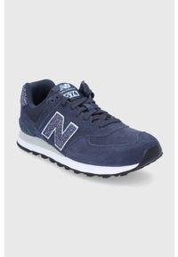 Niebieskie sneakersy New Balance 574, na niskim obcasie