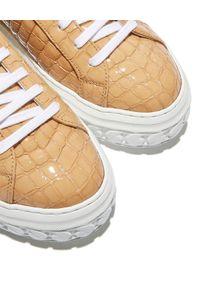 Casadei - CASADEI - Brązowe sneakersy Off Road. Kolor: brązowy. Materiał: lakier, guma. Szerokość cholewki: normalna