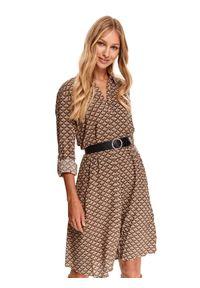 TOP SECRET - Koszulowa sukienka z nadrukiem. Kolor: beżowy. Wzór: nadruk. Typ sukienki: koszulowe