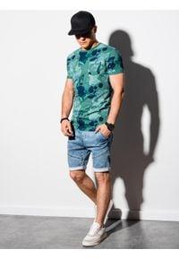 Ombre Clothing - T-shirt męski z nadrukiem S1377 - zielony - XXL. Kolor: zielony. Materiał: bawełna, poliester. Wzór: nadruk