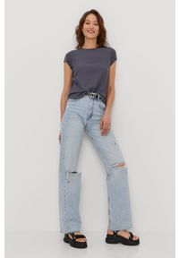 Szara bluzka Vero Moda gładkie, z krótkim rękawem, krótka