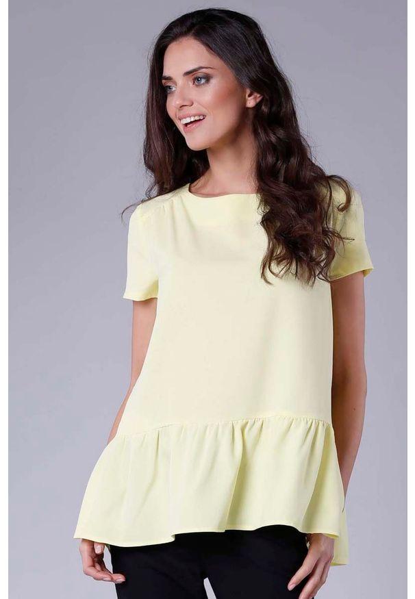 Nommo - Żółta Kobieca Oversizowa Bluzka Wykończona Falbanką. Kolor: żółty. Materiał: wiskoza, poliester