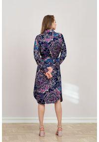 Marie Zélie - Sukienka Eliza Venosa. Materiał: wiskoza, skóra. Długość rękawa: długi rękaw. Typ sukienki: szmizjerki. Styl: klasyczny