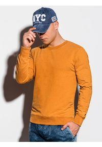 Ombre Clothing - Bluza męska bez kaptura B1023 - musztardowy - XXL. Typ kołnierza: bez kaptura. Kolor: pomarańczowy. Materiał: bawełna. Styl: klasyczny