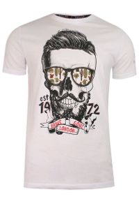 Brave Soul - Biały T-Shirt (Koszulka) z Nadrukiem -BRAVE SOUL- Męski, Okrągły Dekolt, Brodacz, Barber, Hipster. Okazja: na co dzień. Kolor: biały. Materiał: bawełna. Wzór: nadruk. Styl: casual