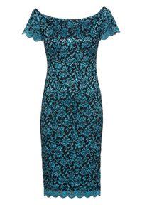 Niebieska sukienka bonprix z kołnierzem typu carmen, na imprezę