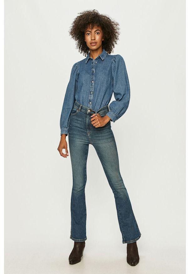 Niebieskie jeansy bootcut Dr. Denim w kolorowe wzory, z podwyższonym stanem