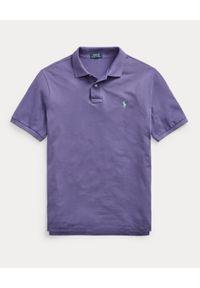 Ralph Lauren - RALPH LAUREN - Fioletowa koszulka polo Mesh Custom Fit. Typ kołnierza: polo. Kolor: różowy, wielokolorowy, fioletowy. Materiał: mesh. Wzór: haft