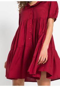 Sukienka z zaokrąglonym kołnierzykiem, z przyjaznej dla środowiska wiskozy bonprix pomarańczowo-czerwony. Kolor: czerwony. Materiał: wiskoza. Długość: mini