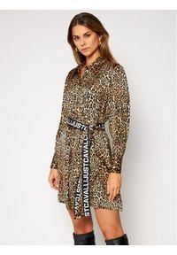 Brązowa sukienka Just Cavalli koszulowa