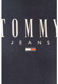 Tommy Jeans - Bluza. Okazja: na co dzień. Kolor: niebieski. Materiał: bawełna, dzianina. Długość rękawa: długi rękaw. Długość: długie. Wzór: nadruk. Styl: casual