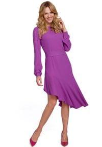 Fioletowa sukienka wizytowa MOE asymetryczna, z asymetrycznym kołnierzem