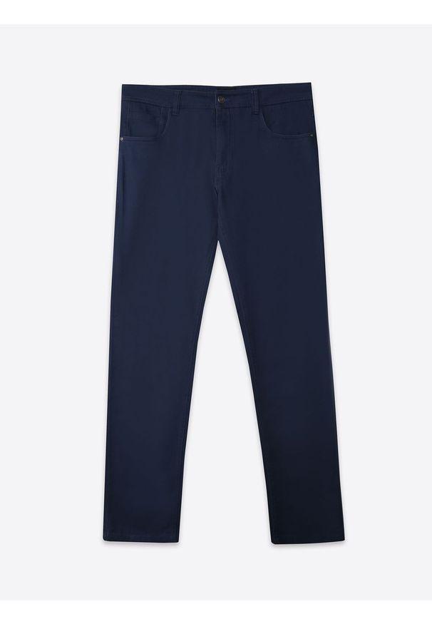 Niebieskie spodnie TOP SECRET casualowe, w kolorowe wzory, na co dzień