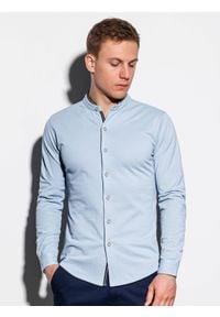 Ombre Clothing - Koszula męska z długim rękawem K542 - niebieska - XXL. Typ kołnierza: kołnierzyk stójkowy. Kolor: niebieski. Materiał: dzianina, bawełna. Długość rękawa: długi rękaw. Długość: długie. Wzór: kolorowy