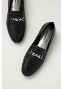 Czarne mokasyny Karl Lagerfeld klasyczne, z okrągłym noskiem