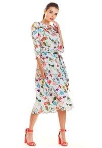 e-margeritka - Sukienka midi rozkloszowana w kwiaty ecru - s. Materiał: tkanina, poliester, elastan, materiał. Wzór: kwiaty. Sezon: wiosna. Typ sukienki: proste. Długość: midi