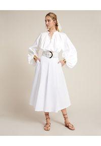 Luisa Spagnoli - LUISA SPAGNOLI - Biała spódnica Terminal. Okazja: na co dzień. Kolor: biały. Materiał: bawełna. Styl: casual