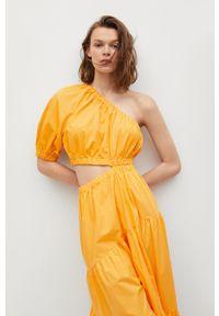 mango - Mango - Sukienka NIEVES. Kolor: pomarańczowy. Materiał: materiał, bawełna. Typ sukienki: rozkloszowane