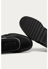 Czarne sneakersy Hugo z okrągłym noskiem, na sznurówki, z cholewką