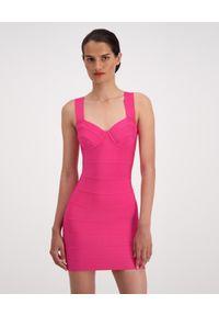 HERVE LEGER - Bandażowa sukienka w kolorze różowym. Kolor: różowy, wielokolorowy, fioletowy. Materiał: tkanina. Długość rękawa: na ramiączkach. Długość: mini