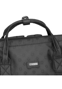 Wittchen - Damski plecak z żakardu z monogramem i skórzaną kieszenią. Kolor: czarny. Materiał: żakard. Styl: elegancki