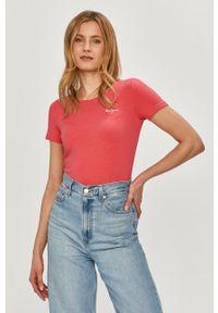 Różowa bluzka Pepe Jeans casualowa, gładkie, na co dzień