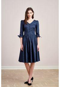 Marie Zélie - Sukienka Odette Idella granatowa. Kolor: niebieski. Materiał: bawełna, satyna, skóra, materiał