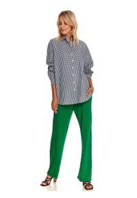 TOP SECRET - Luźna koszula damska w kratkę vichy. Kolor: biały. Materiał: bawełna, tkanina. Długość rękawa: długi rękaw. Długość: długie. Wzór: kratka. Sezon: jesień