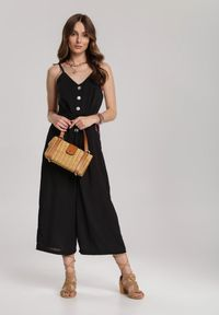 Renee - Czarny Kombinezon Viviarena. Kolor: czarny. Materiał: tkanina, materiał. Długość rękawa: na ramiączkach