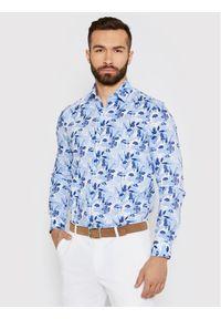 Niebieska koszula casual Calvin Klein z nadrukiem