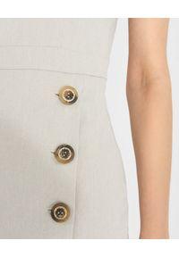 Pinko - PINKO - Midi sukienka z lnu Allegro. Kolor: szary. Materiał: len. Długość rękawa: na ramiączkach. Styl: klasyczny, elegancki. Długość: midi