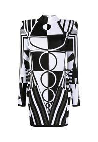 Balmain - BALMAIN - Sukienka w geometryczny wzór. Typ kołnierza: golf. Kolor: czarny. Materiał: tkanina. Wzór: geometria. Typ sukienki: proste, dopasowane