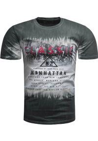 Szary t-shirt z nadrukiem Recea klasyczny, z krótkim rękawem