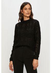 Czarny sweter Vero Moda z okrągłym kołnierzem, z długim rękawem, długi