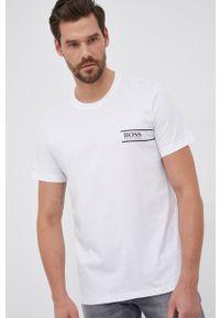 BOSS - Boss - T-shirt bawełniany. Okazja: na co dzień. Kolor: biały. Materiał: bawełna. Wzór: nadruk. Styl: casual