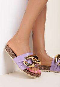 Renee - Liliowe Klapki Zeuxixera. Nosek buta: okrągły. Kolor: fioletowy. Styl: klasyczny
