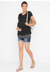 Shirt ciążowy i do karmienia bonprix czarno-biały w paski. Kolekcja: moda ciążowa. Kolor: czarny. Wzór: paski