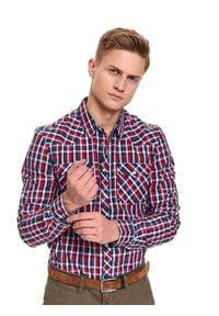 TOP SECRET - Koszula w kratę taliowana. Kolor: niebieski. Materiał: jeans. Długość rękawa: długi rękaw. Długość: długie. Sezon: wiosna. Styl: elegancki, sportowy