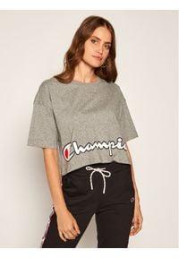 Champion T-Shirt Cropped Script Logo Print Boxy 112655 Szary Oversize. Kolor: szary. Wzór: nadruk